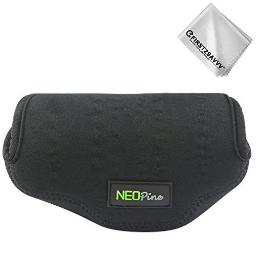 First2savvv Neoprene Camera Case Bag for Olympus OM-D E-M10 Mark III,E-M10 Mark II with14-42mm lens.Fujifilm X100T X100F X100S X100 + Cleaning cloth QSL-EM10III-A01