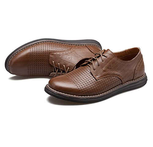 Men's Leather Casual Walking Shoes - Perfect for Outdoor Activities and Semiformal Occassions 539-38DBr by HUMGFENG (Image #2)