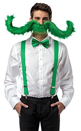 Irish Goofy Green Super Stache Mustache Costume Accessory, 30 inch -