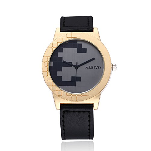 naivo Men's Quartz Stainless Steel and Gold Plated Watch, Color:Black (Model: 1)