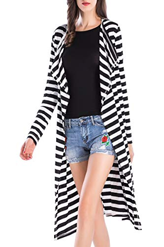 Long Cardigans for Women Striped Black White Shawl Open Front Wrap Coat Outwear One Size