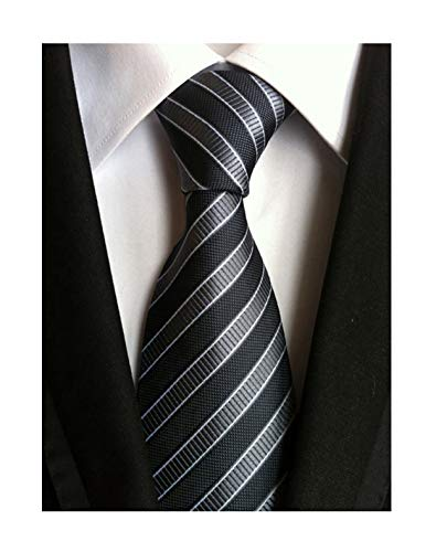 - Secdtie Men's Striped Grey Black Jacquard Woven Silk Tie Formal Necktie TW01