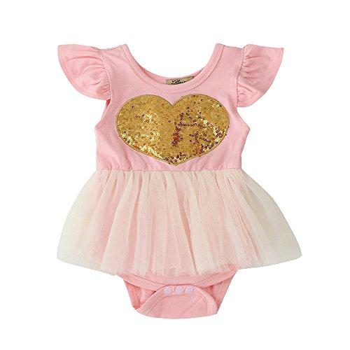 Birdfly Sequins Sweet Heart Bodysuit Gauze Skirt For Infant Toddler – Lovely Dream Sunsuit Playsuit Ballet Leotard Baby Girls Dress Up Clothes (24M)