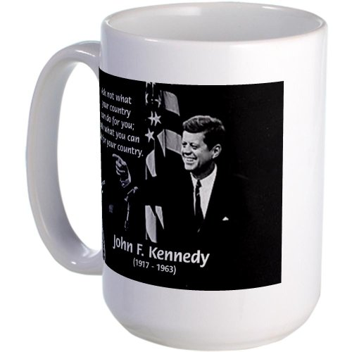 Famous Quote Beer (CafePress - Famous Quote from JFK Large Mug - Coffee Mug, Large 15 oz. White Coffee)