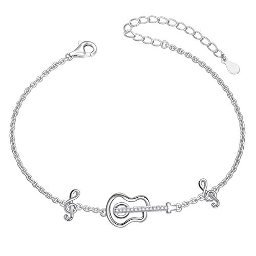S925 Sterling Silver Musical Note Guitar Charm Adjustable Bracelet for Music Lover Birthday Gift ()