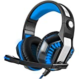 Gaming Headset for PS4, Noise Cancelling Over-Ear Game Headphone with Mic & LED Lights, Volume Control,Bass Stereo Surround for Laptop,Mac,Nintendo Switch Games,PC, Xbox one,VR-Blue