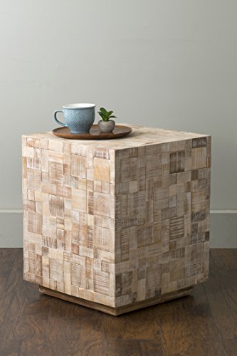 (East At Main Rosalee Off-White Mosaic Wood Square Accent Table, (20x20x24))