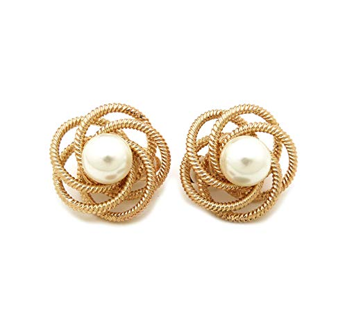 Women's Oversize Pearl Stone Center Floral Statement Metal Clip On Earring