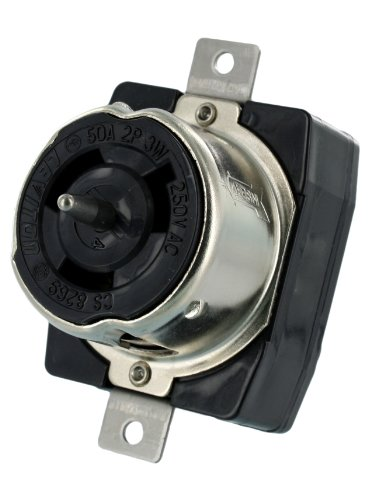 Mount 250v Flush (Leviton CS8269 50 Amp, 250 Volt AC, Black and White Locking Flush Mount Receptacle, Industrial Grade, Grounding, California-Style, Black)