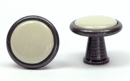 Porcelain knob with metal edging ivory satin silver 30 mm - Stilmelange quality from Europe since 1998