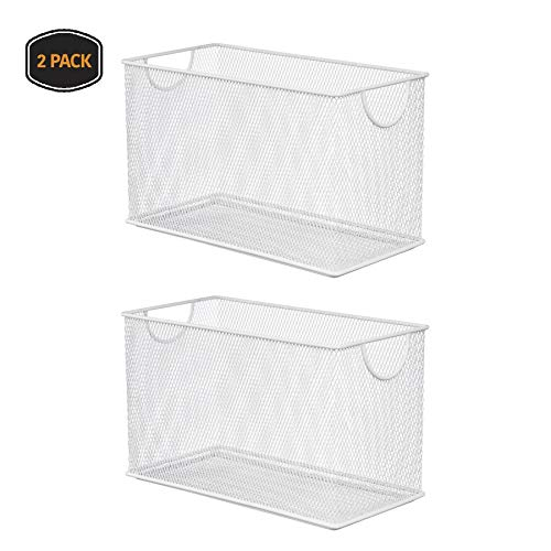 - YBM HOME Household Wire Mesh Open Bin Shelf Storage Basket Organizer for Kitchen, Cabinet, Fruits, Vegetables, Pantry Items Toys 2530-2 (2, 10.75 x 5.5 x 6.5)