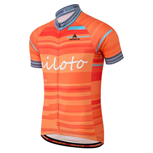 Uriah Men's Cycling Jersey Short Sleeve Reflective Waves Orange Size M(CN)