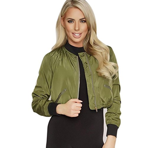 [XUANOU Women Short Style Handsome Zipper Street Jacket Coat Outwear (XX-large, Army Green)] (Red Coat Army Costume)