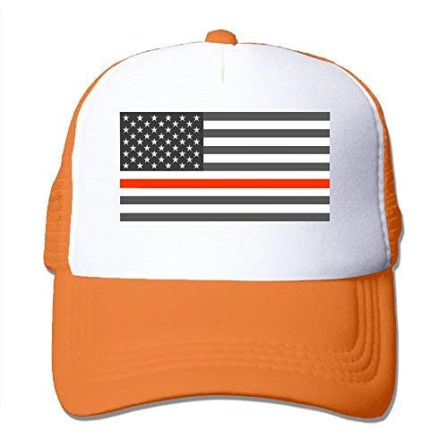 ha-fullshop Thin Red Line American Flag Adjustable Printing Snapback Mesh Hat Unisex Adult Baseball Mesh Cap Orange