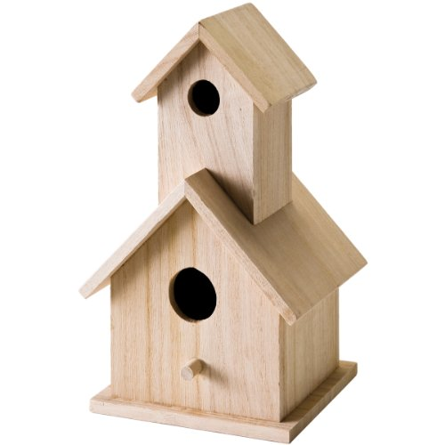 Plaid Enterprises, Inc. 12741E Plaid Wood Surface Crafting Birdhouse, 12741 Story, Beige