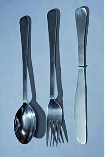 Tamaño Extra grande Metal plateado cuchillo, tenedor y cuchara Cubiertos pared arte adorno Set 60 cm: Amazon.es: Hogar
