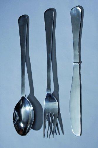 Juego de 3 cubiertos decorativos para colgar de la pared (aluminio, 100 cm), color plateado: Amazon.es: Hogar