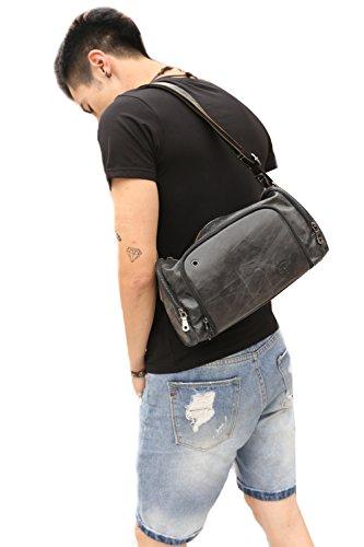Genda 2Archer Männer Crossbody Schulter Handtasche Ledertasche (Braun) Schwarz QIJhAo8