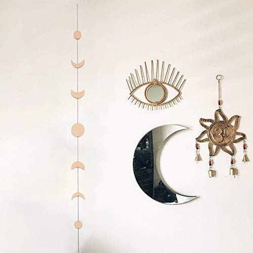 Moon Phase Wall Hanging, Manicer Moon Phase Garland Boho Moon Wall Art with Chains Celestial, Gold Shining Wall Hanging Ornaments, Retro Style Home Wall Décor for Apartment Living Room Bedroom Wedding