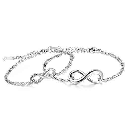 Oidea Stainless Steel Lover's Infinite Love Matching Bracelet Anklet for Valentines Day, Wedding Anniversary,with Gift Bag (Infinity Bracelet Cheap)