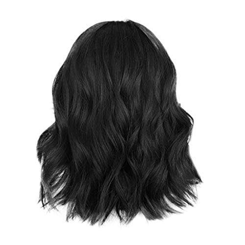 Wigs For Black Women Human Hair Bundles,Women's Short Black Curly Bobo Brazilian Full Wig Wave Natural Wig (Black) (Bobo Full Wig)