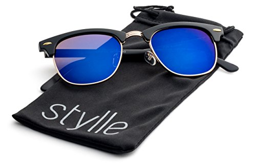 Matte Black Frame/Blue Flash Mirror Lens Stylle Clubmaster - Style Clubmaster Men Sunglasses