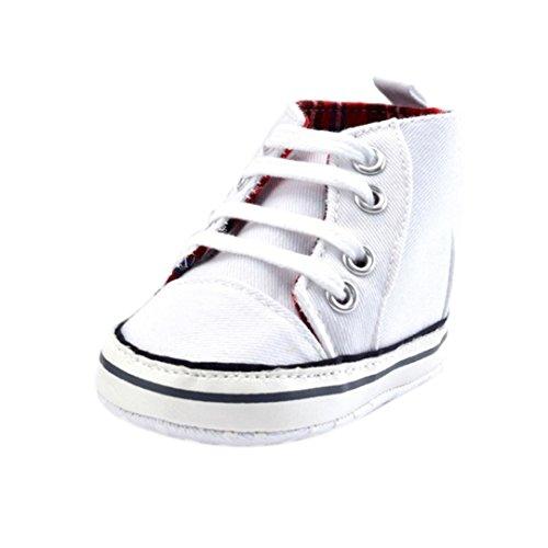 Tefamore zapatos altos bebe de deporte de primeros pasos de antideslizante de solo suave de moda invierno de calentar Blanco