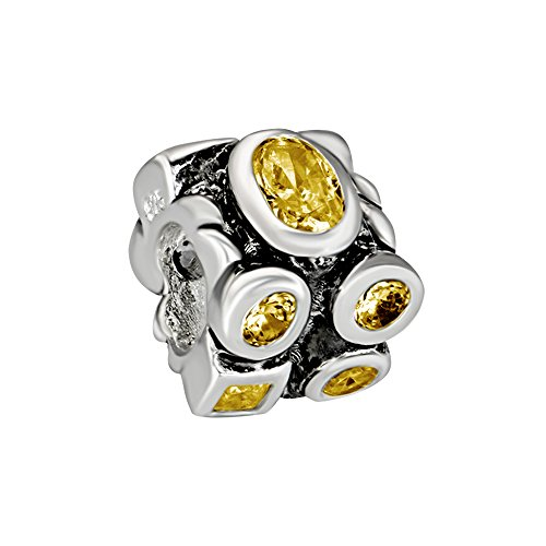 Quiges 925 Sterling Silver 3D Geometrical Square Oval Yellow Crystal Bead Charm