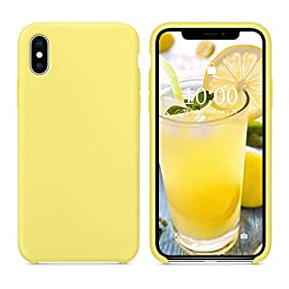 SURPHY Silicone Case Compatible with iPhone Xs Max Case, Soft Liquid Silicone Shockproof Phone Case (with Microfiber Lining) Compatible with iPhone Xs Max (2018) 6.5 inches (Yellow)