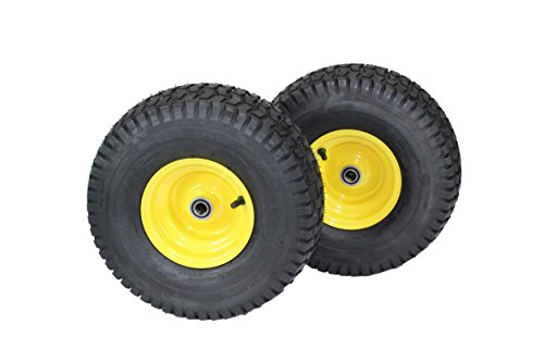 - (Set of 2) 15x6.00-6 Tires & Wheels 4 Ply for Lawn & Garden Mower Turf Tires .75