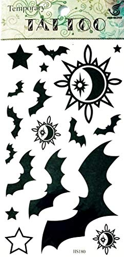 PP TATTOO 1 Sheet Sun Star and Vampire Bats Dracula Halloween Waterproof Temporary Tattoos Body Arm Art Sticker Fake Tattoo Sexy Make up Body Art for Men -
