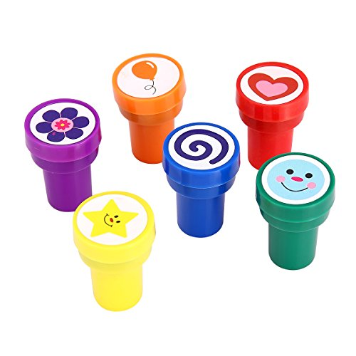 Stamps for Kids, LUCKYBIRD S1118 Best Self Inking Plastic Fun Stamps Set, 6 Count (Stamp China)