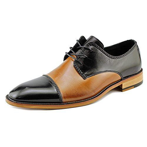 STACY ADAMS Men's Brayden Cap Toe Oxford 24972,Tan/Black Buffalo,US 8.5 M