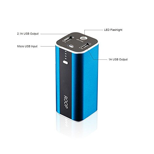 ROOP 12000mah External Battery electrica Bank portable Charger Backup Pack utilizing highly effective double USB utilizing Flashlight For iPhone 6s 6 Plus iPad and Samsung Galaxy and other smartphones Tablets blue Batteries