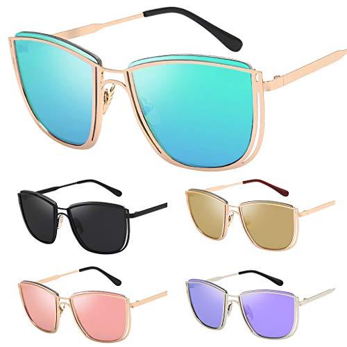 DDLmax Retro Metal Frame Sunglasses Anti-Reflection Aviator Sun Protection Glasses (Khaki) ()