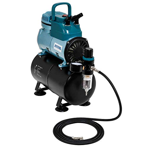 Master Airbrush Model TC-40T - Cool Runner Professional High Performance Single-Piston Airbrush Air Compressor with 3-Liter Air Tank, 2 Holders, Regulator, Gauge, Water Trap Filter & Air ()