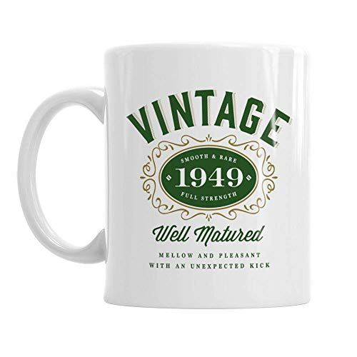 70th Birthday Vintage 1949 Gift Mug Present for 70 Men Women 10oz Coffee Mug (Print 1949 Vintage)