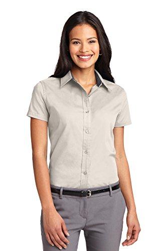 (Port Authority Ladies Short Sleeve Easy Care Shirt>M Light Stone/Classic Navy)