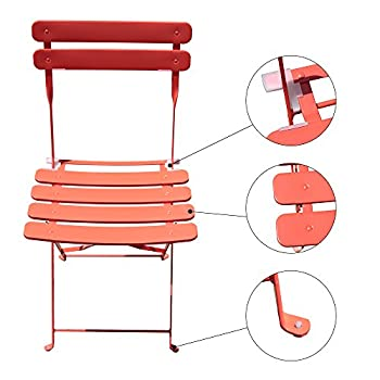 Orange Casual Outdoor 3 Pieces Patio Bistro Set Folding Steel Furniture Balcony Table and Chairs Sets, Orange