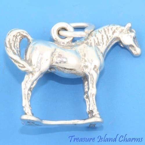 Arabian Horse 3D 925 Solid Sterling Silver Charm Pendant Crafting Key Chain Bracelet Necklace Jewelry Accessories Pendants (Pugster Horse)