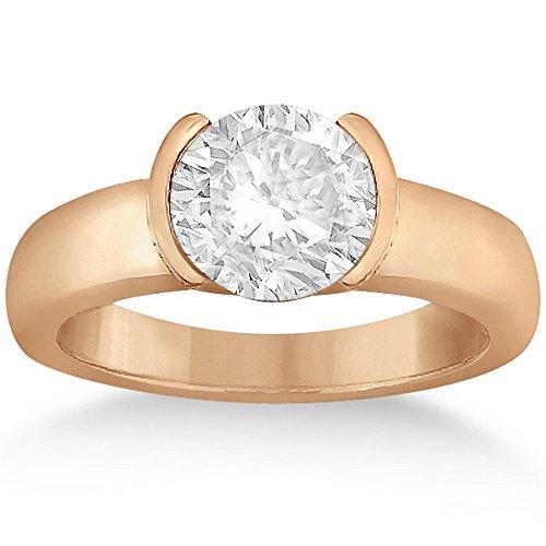Half-Bezel Set Solitaire Diamond Engagement Wedding Ring Setting for Women in 18k Rose Gold Half Bezel Set Solitaire