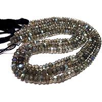 "JEWEL BEADS Beautiful jewelry AAA++ Quality Labradorite Faceted Roundel Beads Full 13"" Strand 4.5-4 mm/NaturalLabradorite beads Gemstone/Labradorite Cut Roundel Beads Code- UKA-10423"