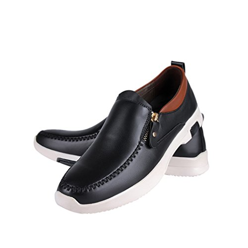Snowman Lee Men's Penny Loafer Leather Shoes Comfortable Soft Loafers Zipper Driving Walking Slip-on Shoes Black 10.5 M US
