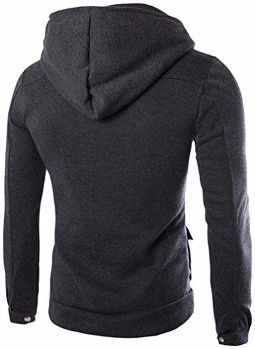Sudadera Oscuro Swearshirt Hombres Larga Manga suéter Bolsillo con Chaqueta Gris Outwear Abrigo SHOBDW sólido Capucha nw0x6Cfwqg
