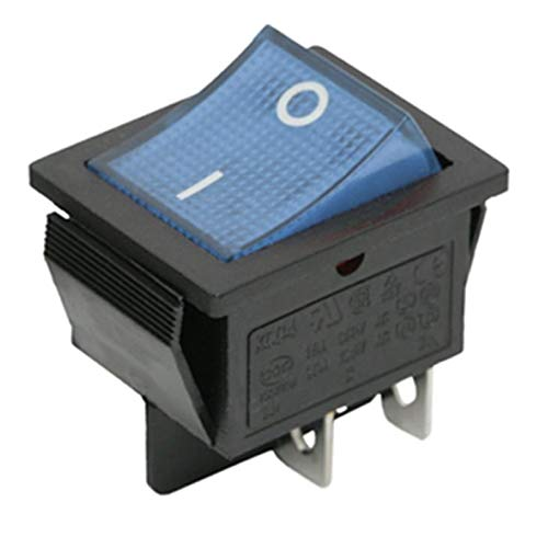 Blue Light DPST Latching Rocker Switch On-Off Snap In 22x30mm 4pin