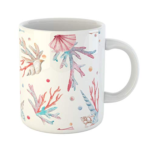 Semtomn Funny Coffee Mug Watercolor Sea Pattern Shell and Corals Starfish Pearl Pink 11 Oz Ceramic Coffee Mugs Tea Cup Best Gift Or Souvenir
