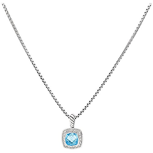 David Yurman Petite Albion Blue Topaz & Diamonds Necklace N07212DSSABTDI17 -