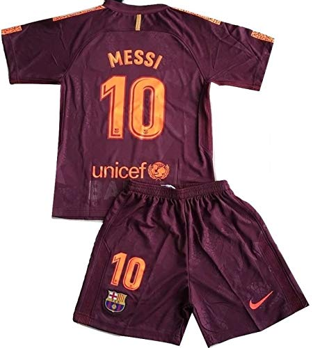 TrendsNow New Messi #10 FC Barcelona 3rd Jersey & Shorts for Kids/Youths (7-8 Years Old) Maroon