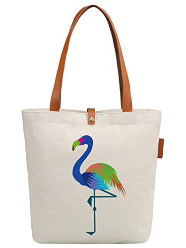 So'each Women's Cute Flamingo Graphic Top Handle Canvas Tote Shoulder Bag