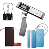 Digital Luggage Scale,Luggage Locks TSA Approved 2 Pack, Aluminum Luggage Tags 2 pack, 6 in 1 Travel Accessories Kit with 1 Scale, 2 Locks, 2 Tags &1 Storage Bag for Scale
